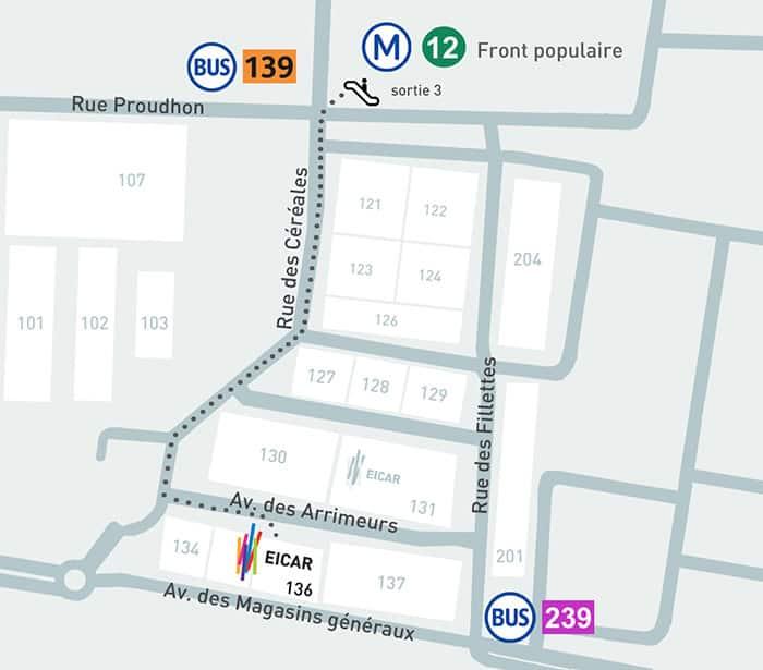 Plan d'accès - EICAR - École de cinéma